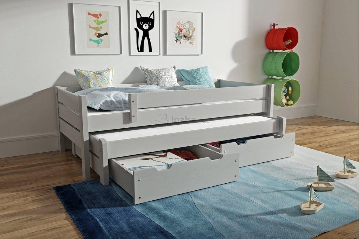 łóżko Dziecięce Podwójne Z Zabezpieczeniem I Szufladami Adrian Bis