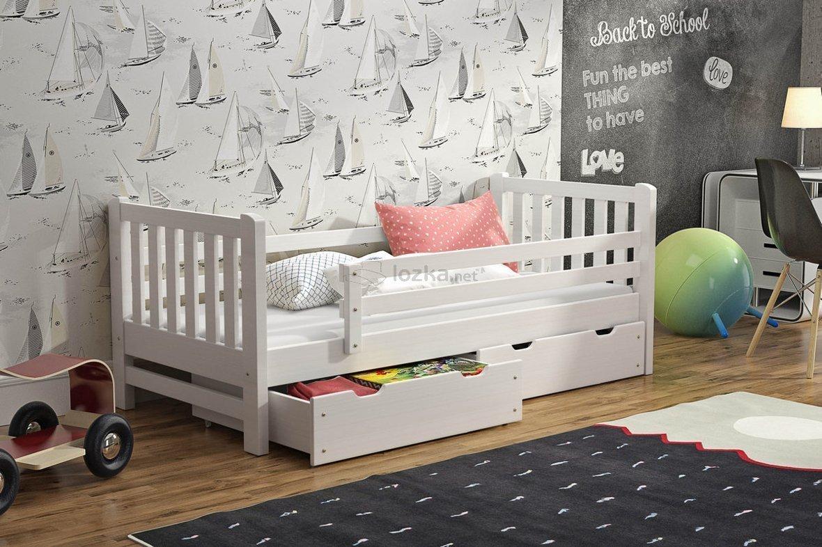 łóżko Dziecięce Z Zabezpieczeniem I Szufladami Hubert