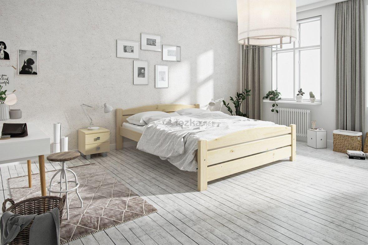 łóżko Drewniane Białe Szare Naturalne Kasia